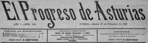El Progreso de Asturias-cabecera- 31-12-1901